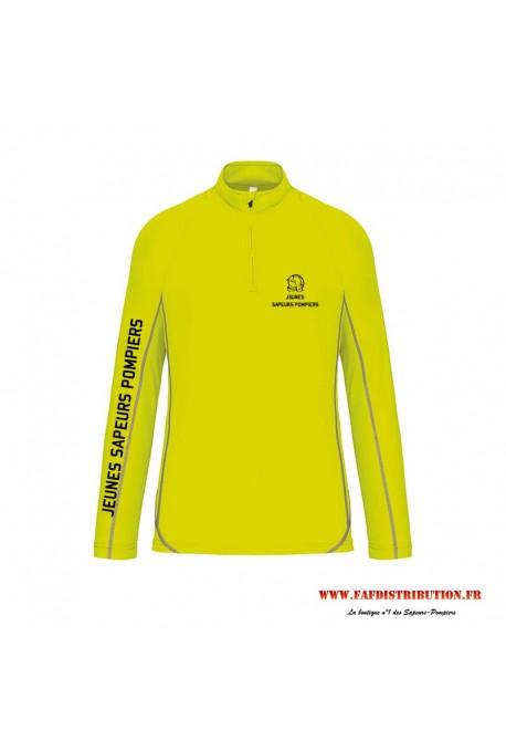 Sweat running jeunes sapeurs pompiers jaune fluo