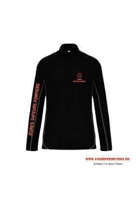 Sweat running jeunes sapeurs pompiers noir