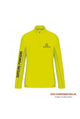 Sweat running sapeurs pompiers jaune fluo