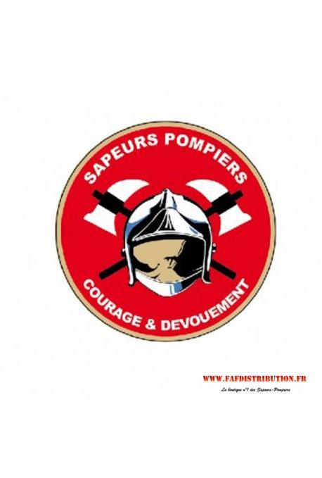 """Autocollant rond rouge """"Sapeurs Pompiers"""""""