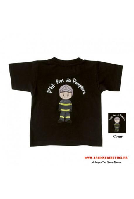 T-shirt P'tit fan de Pompiers noir