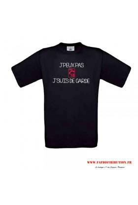 T-shirt noir J'PEUX PAS J'SUIS DE GARDE